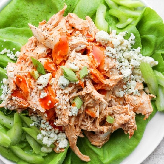 Buffalo chicken in lettuce wraps.
