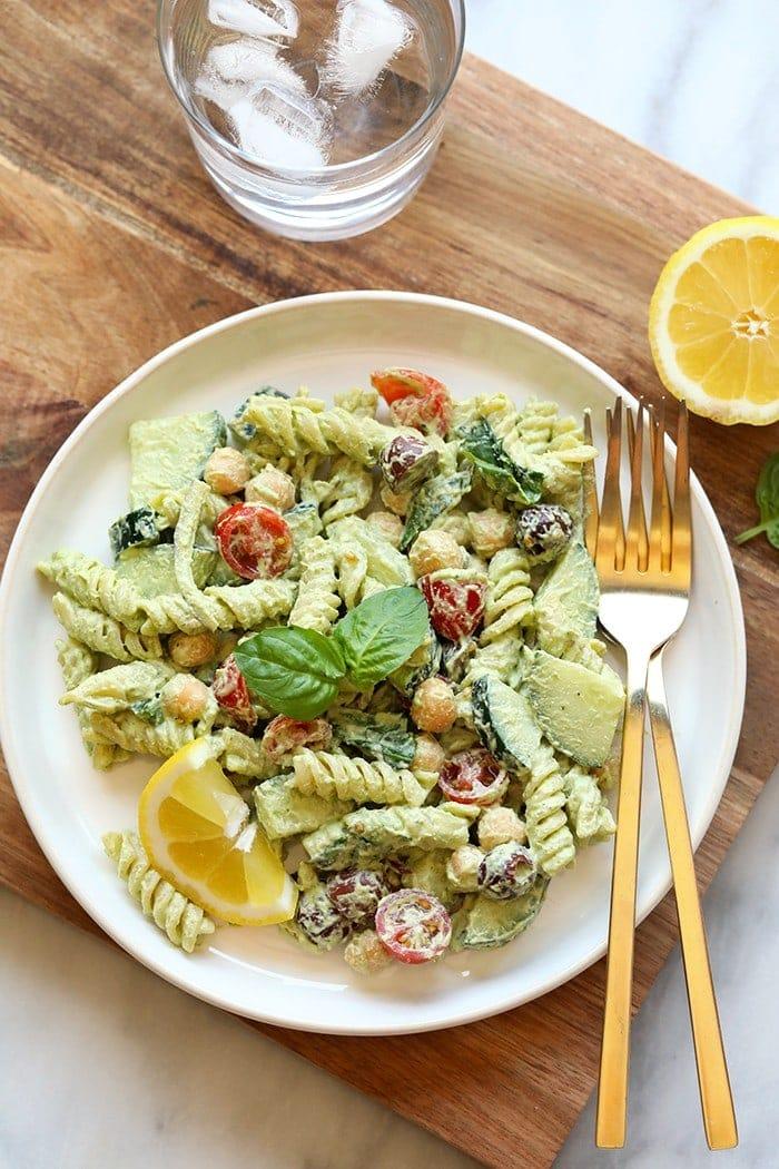 pasta salad on plate