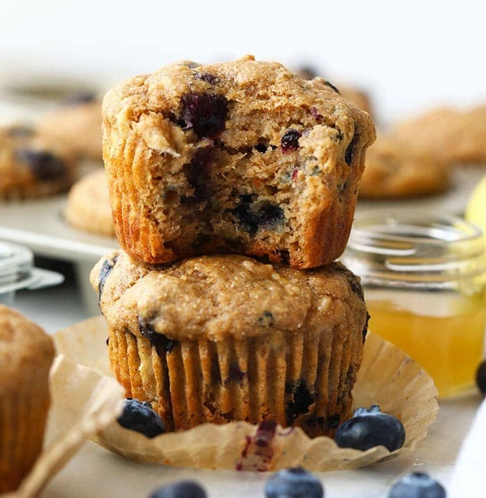 healthy blueberry muffins stacked