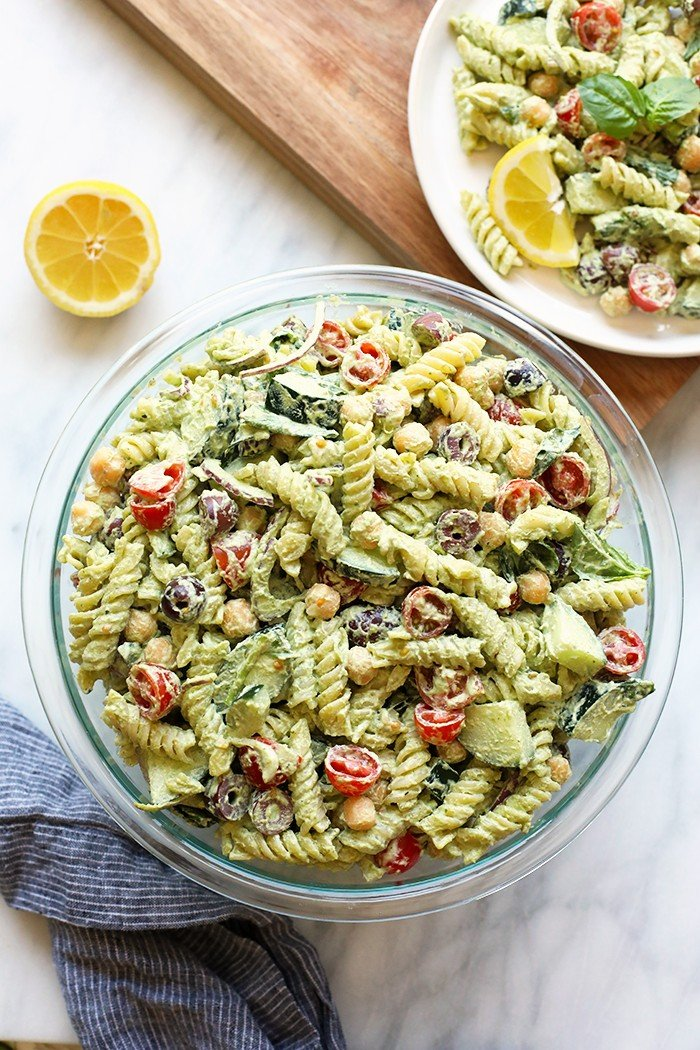 Creamy Greek Pasta Salad with Cashew Vegan Pesto