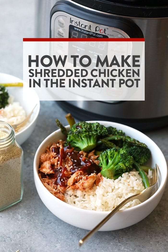 Shredded chicken from the Instant Pot served with broccoli and rice in a bowl.