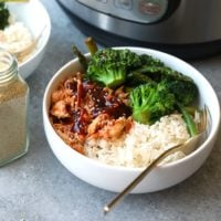 Shredded chicken served in a bowl with broccoli and rice