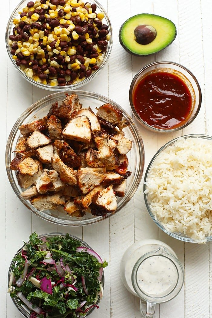 All of the ingredients for the bbq chicken bowls