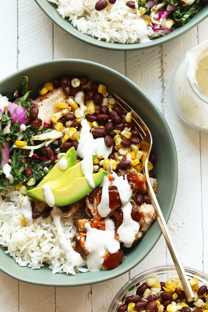 prepared bbq chicken bowl