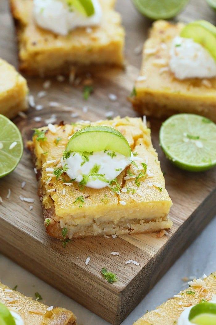 key lime pie bar on a cutting board