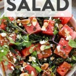 A plate of grilled kale and watermelon salad