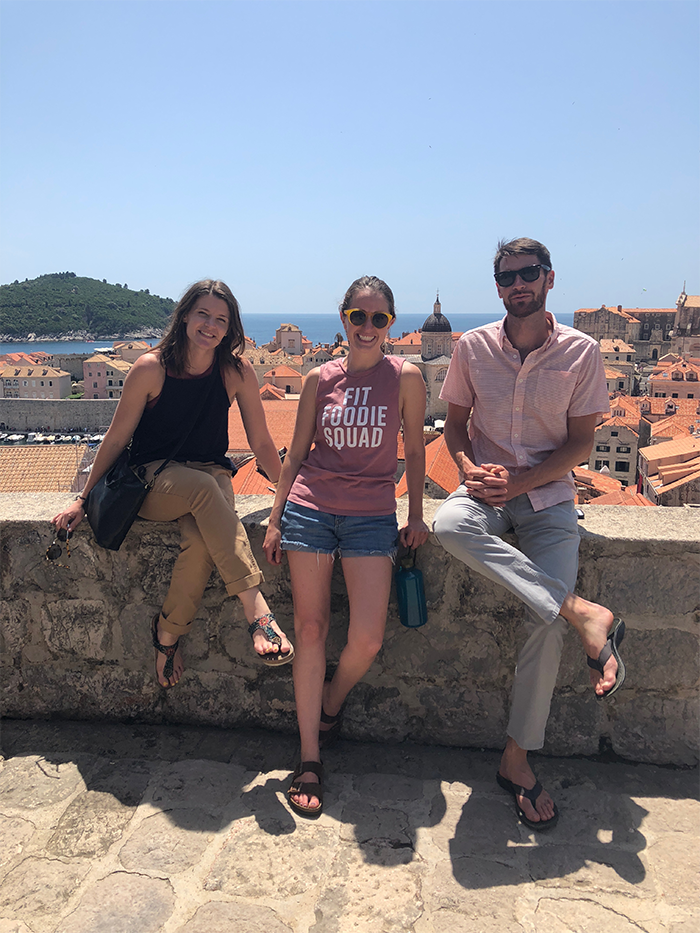 People on a wall in Dubrovnik