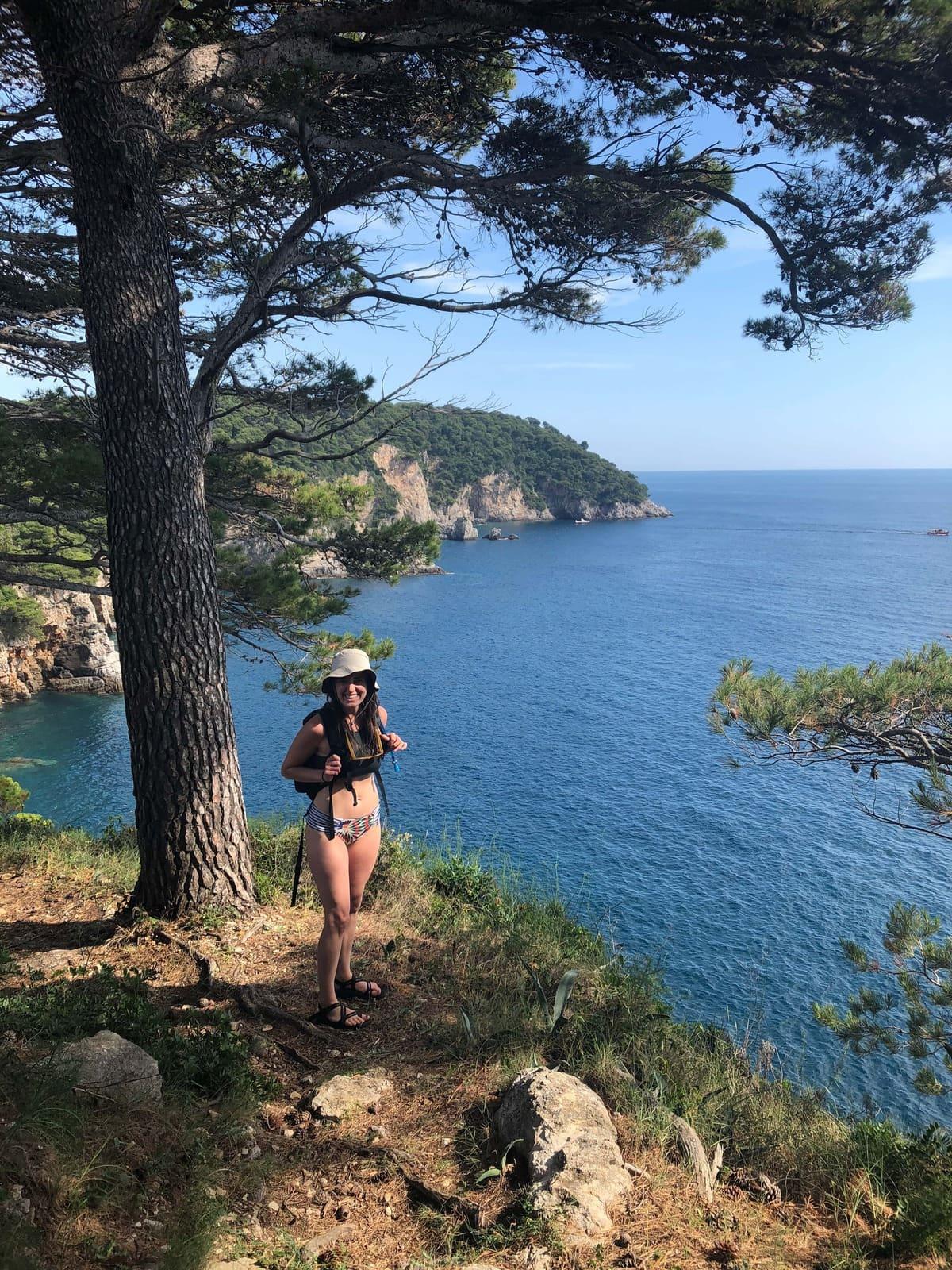 Girl hiking in Croatia