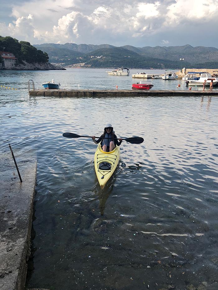 Girl in a kayak in Croatia