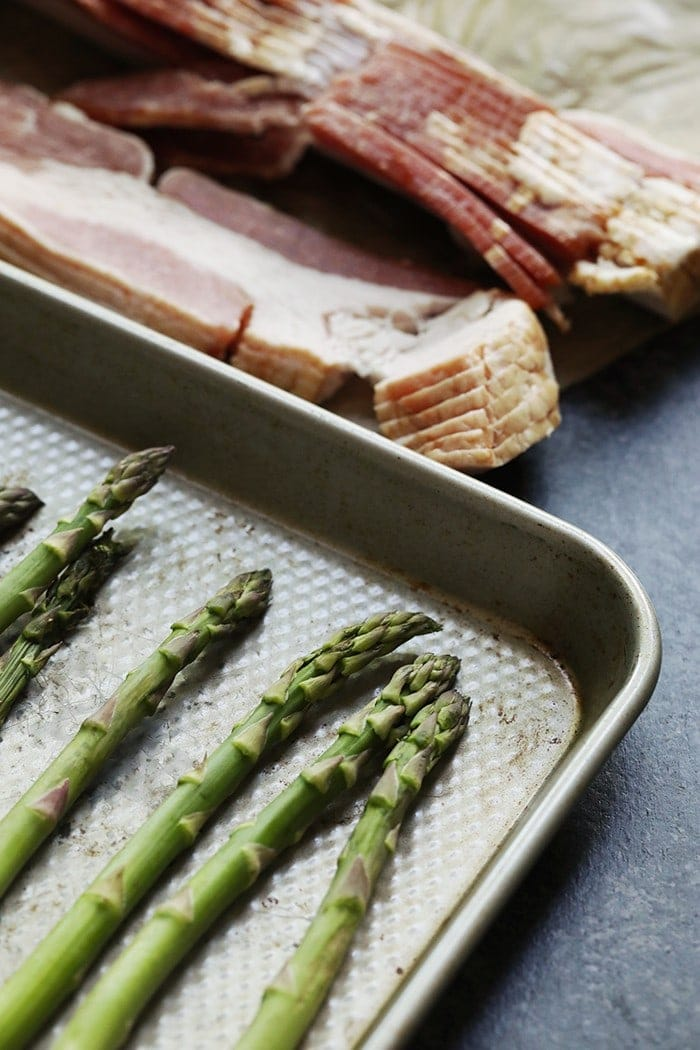 photos of ingredients for bacon wrapped asparagus