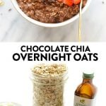 Get your chocolate fix for breakfast with these deliciously creamy (and healthy!) Chocolate Overnight Oats. This overnight oat recipe is made with rolled oats, chia seeds, maple syrup, almond milk, and a little Greek yogurt!