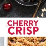 This Fresh Cherry Crisp Recipe is a healthy and delicious dessert that screams summer! You won't believe how easy it is to throw this crisp together in no time. Grab your cherries, orange juice, oats, and a little bit of butter and you're ready to make this healthy cherry crisp recipe!