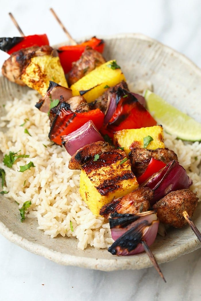 Grilled Pineapple And Jerk Chicken Kabobs Video Fit Foodie Finds