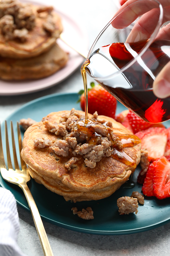 Maple sausage pancakes on a plate