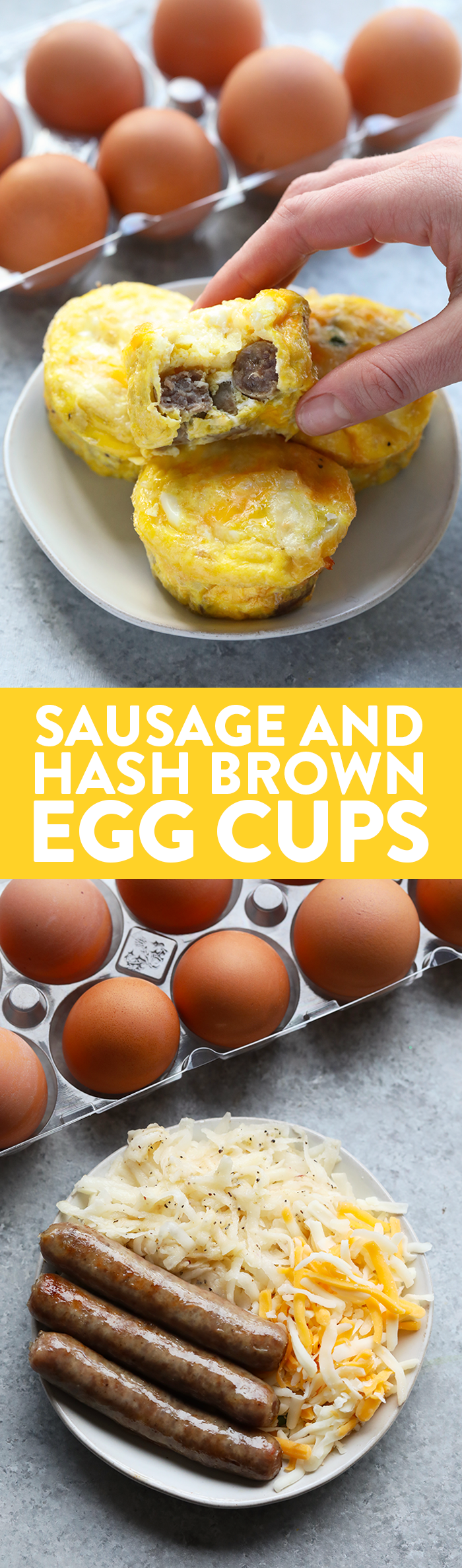 Ingredients for egg cups and finished egg cups with text