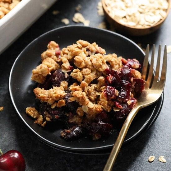 cherry crisp on plate