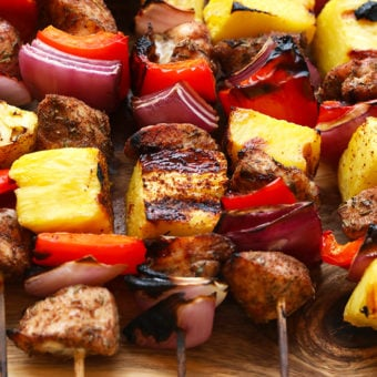 Grilled Pineapple and Jerk Chicken Kabobs {video}