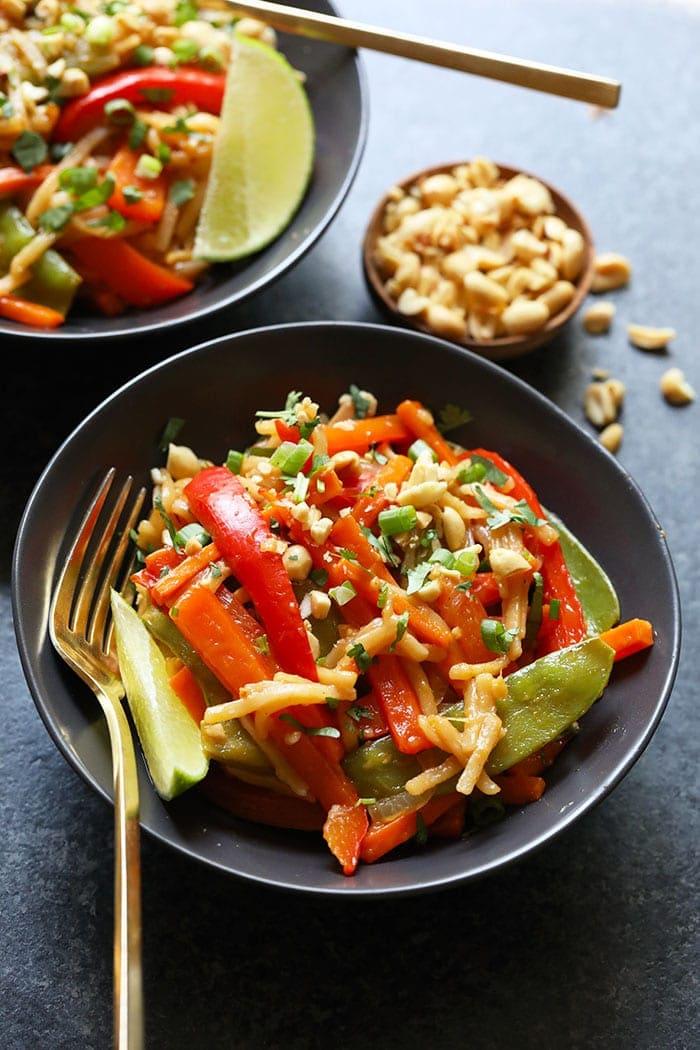 Instant Pot Vegan Pad Thai in a bowl