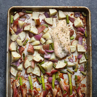 Sheet Pan Dinner — Chicken, Potatoes and Bacon Wrapped Asparagus
