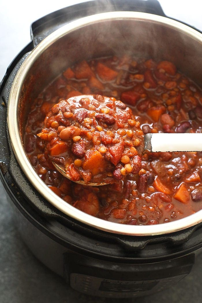 Cooked Instant Pot Vegan Chili in the Instant Pot