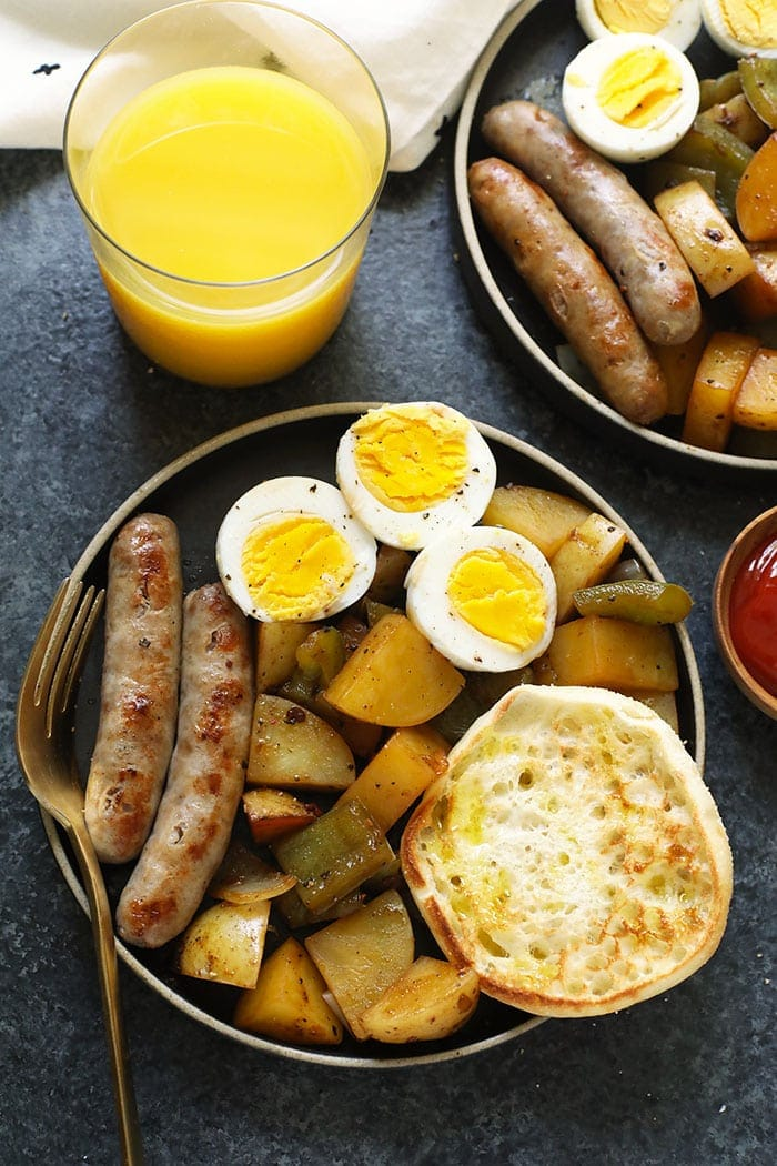 Potatoes, sausage, and eggs on a plate