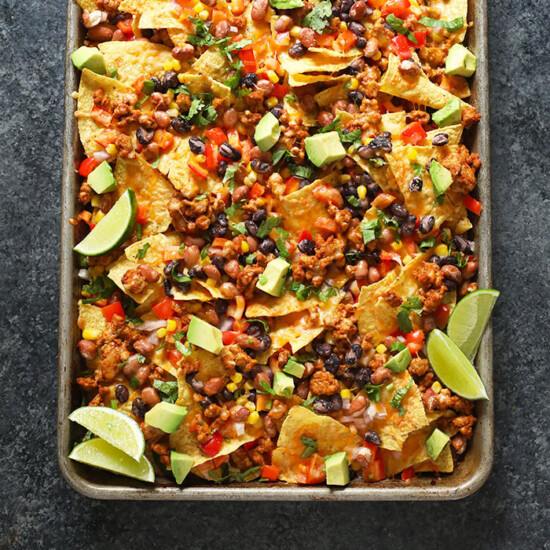healthy chicken nachos on pan
