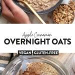 apple pie overnight oats in a bowl