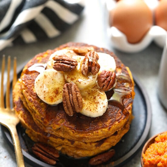 Paleo pumpkin pancakes on a plate