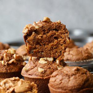 pumpkin muffins stacked