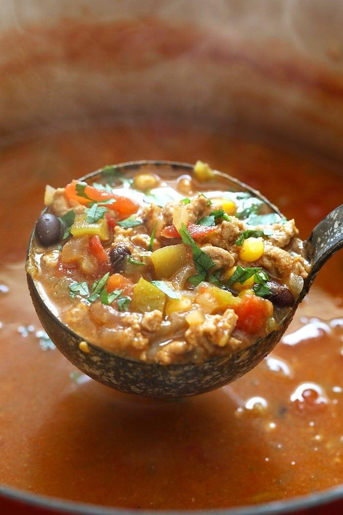 a ladle full of taco soup