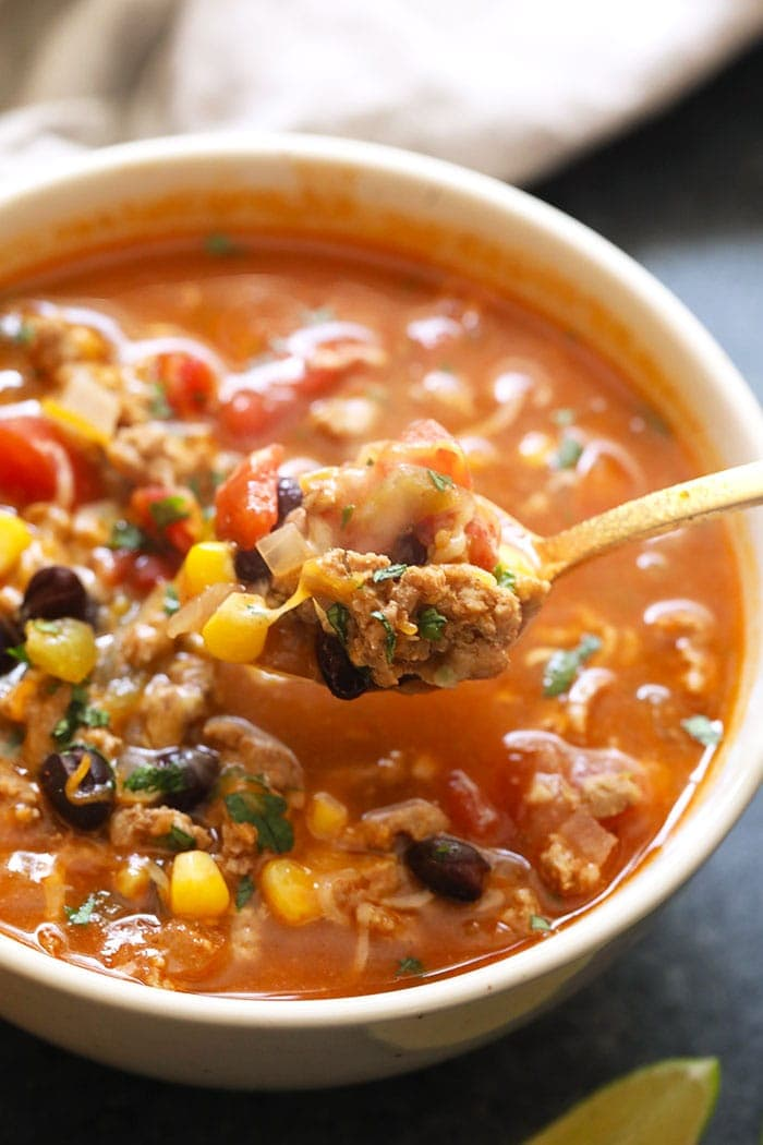 a spoonful of taco soup