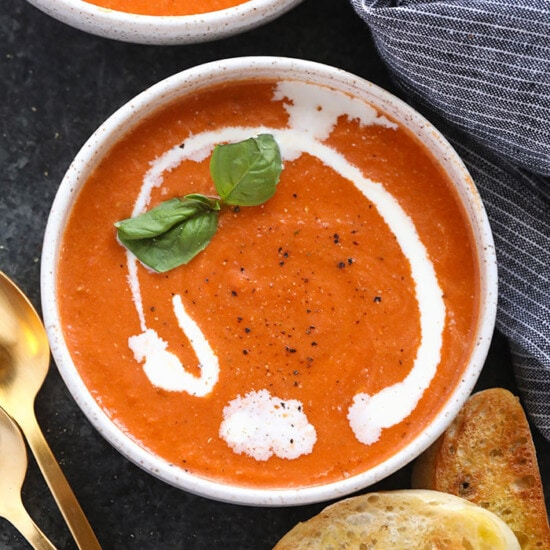 tomato bisque in bowls