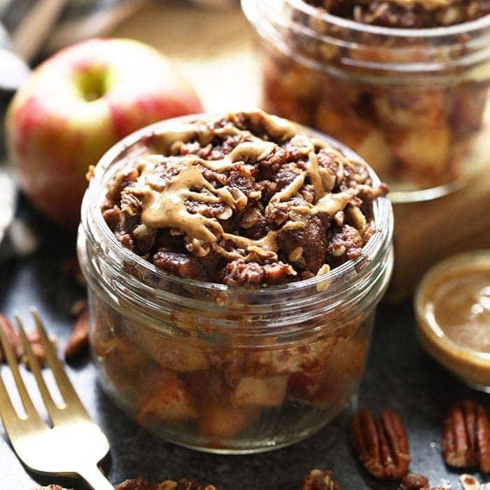 Instant Pot Apple Crisp in a mason jar