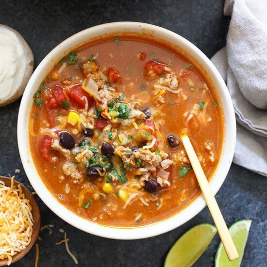 Taco soup in a bowl.