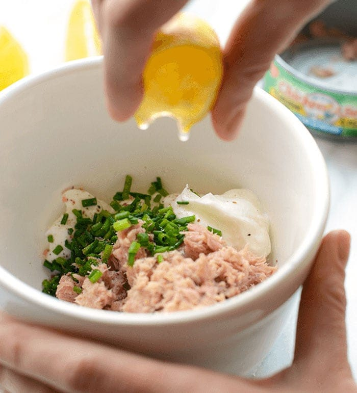 healthy tuna salad ingredients in a bowl