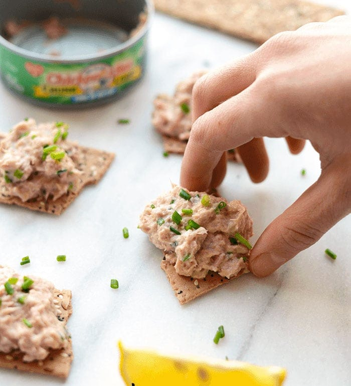 healthy tuna salad on a cracker