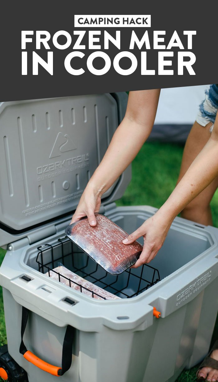 Camping Hack: Frozen Meat in Cooler