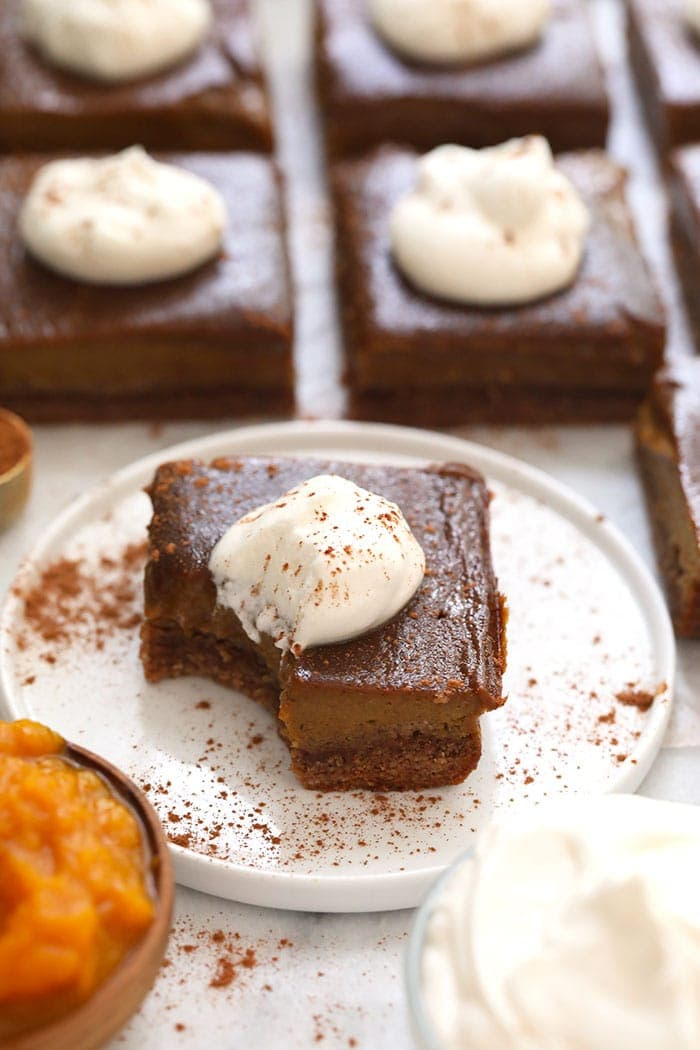 A pumpkin pie bar on a plate
