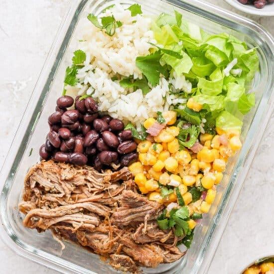 carnitas burrito bowl in meal prep container