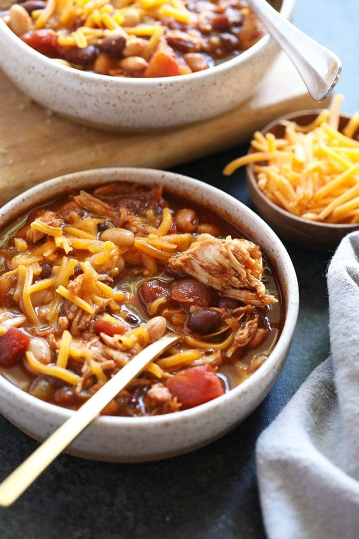 Crockpot chicken chili in a bowl