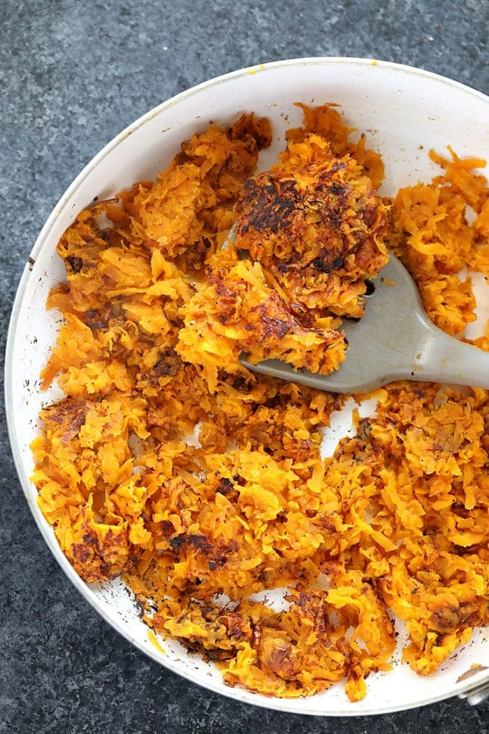 Sweet Potato Hash Browns in Pan