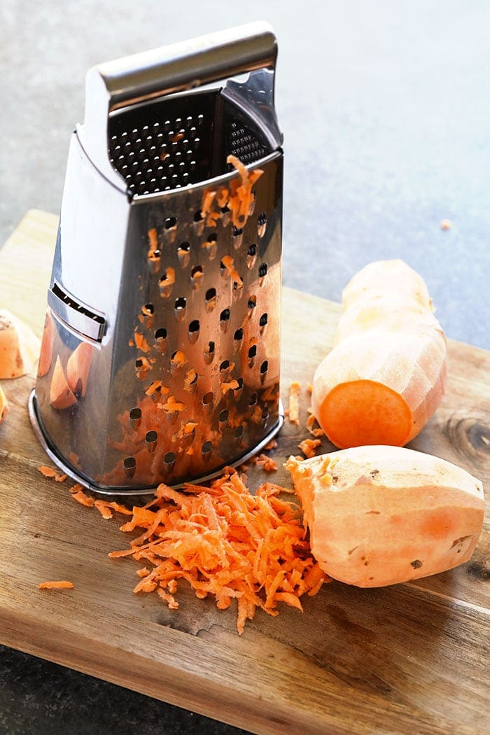 Grating sweet potato