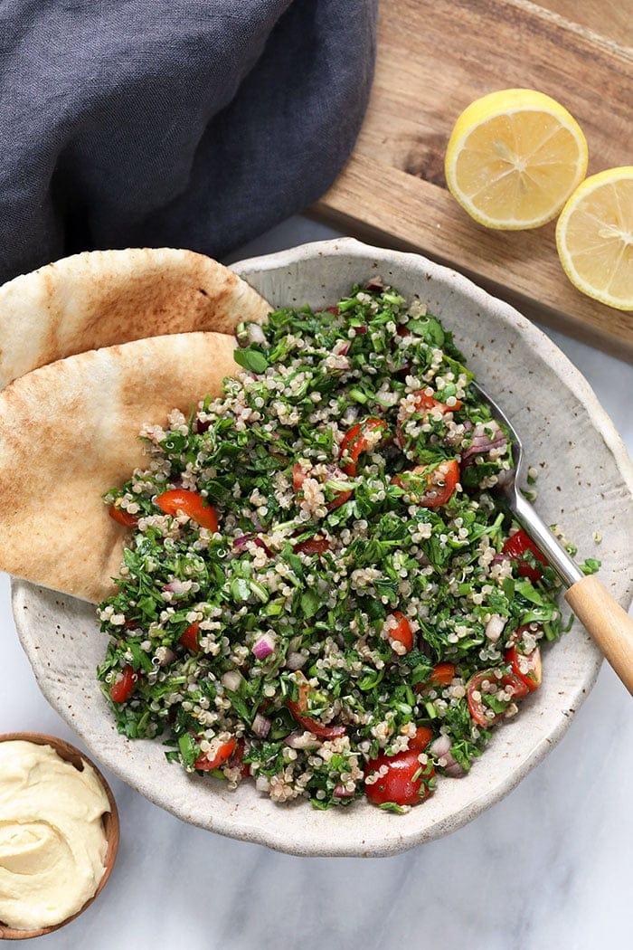 A bowl of quinoa tabouli