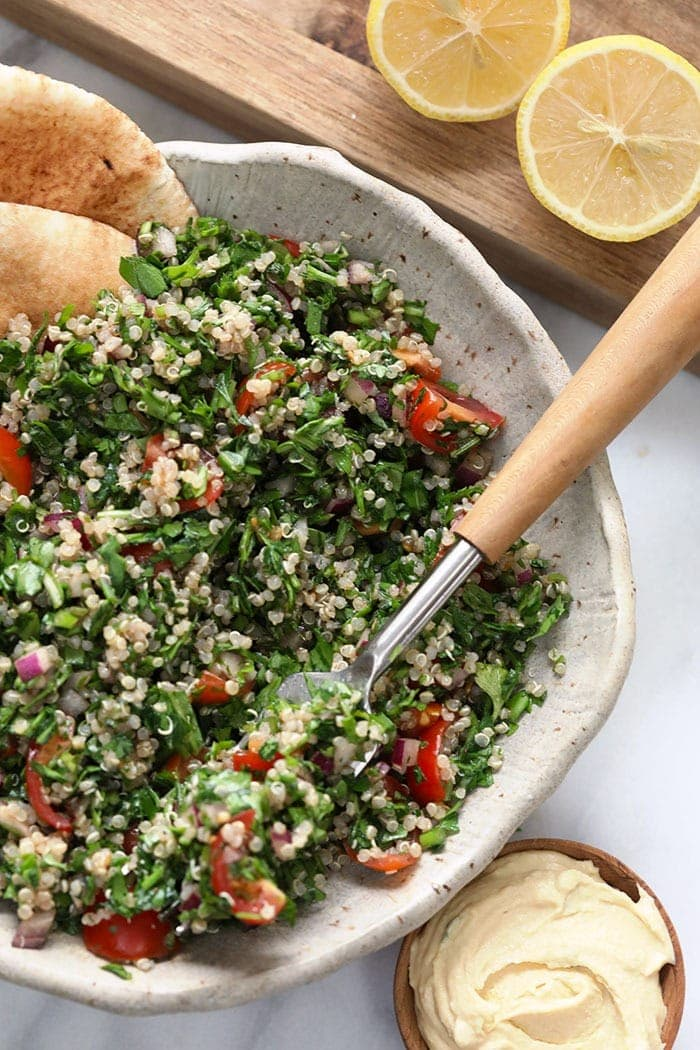 A fork with quinoa tabouli on it