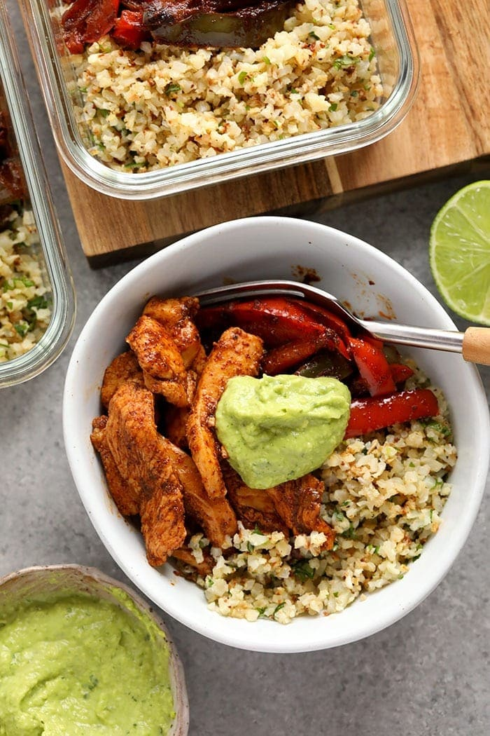 keto chicken fajita meal prep recipe in a bowl