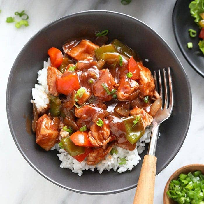 healthy sweet and sour chicken in a bowl