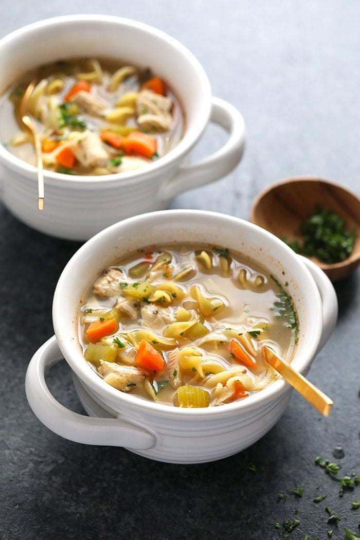 Chicken Noodle Soup Slow Cooker in bowl