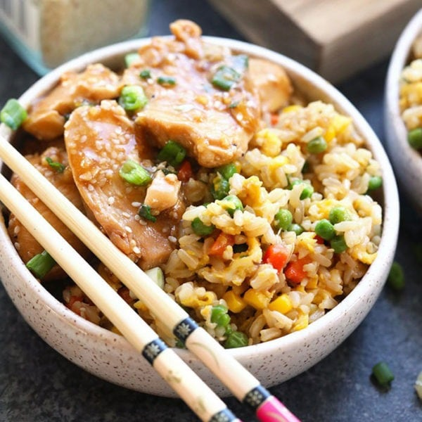 healthy fried rice in a bowl