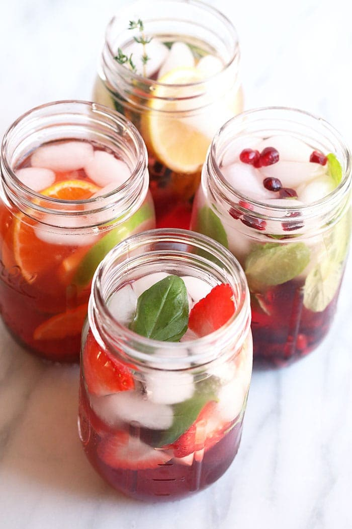 infused waters in mason jars
