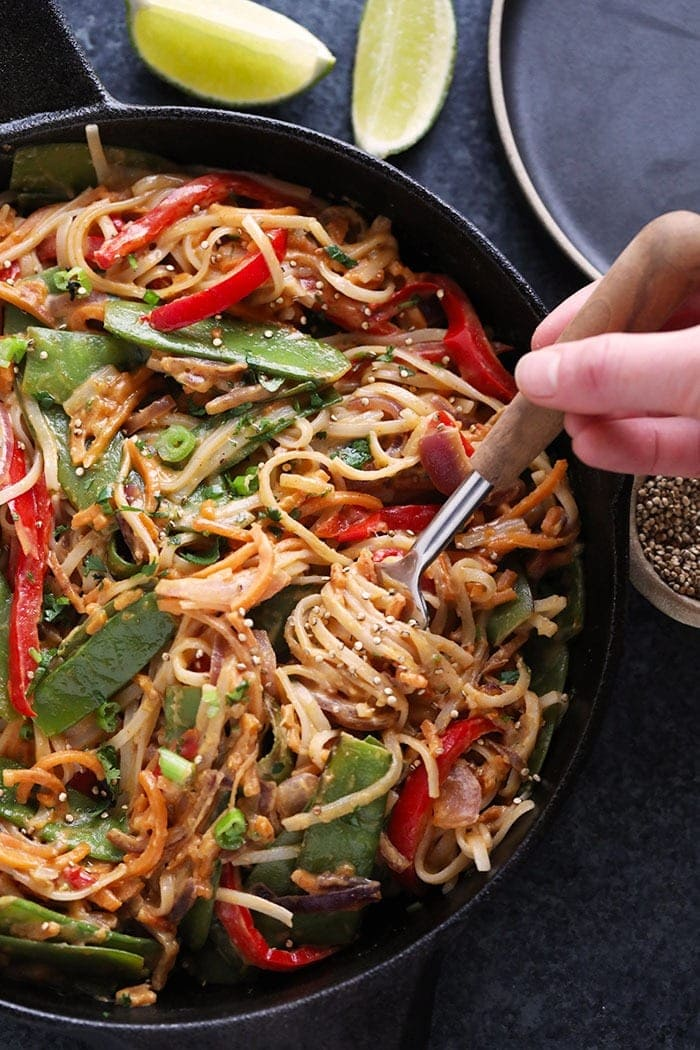 Vegan Pad Thai With Thai Peanut Sauce Fit Foodie Finds